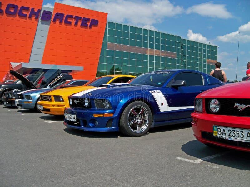 Kiev - l'Ucraina, il 22 maggio 2011, quattro Ford Mustangs Mustang rossi, blu, gialli fotografie stock libere da diritti