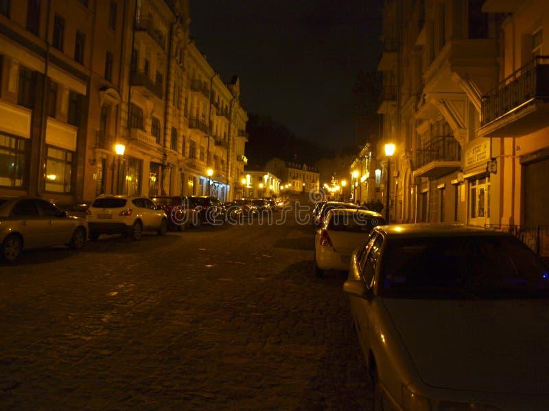 kiev l'ucraina Vista di notte della città immagine stock libera da diritti