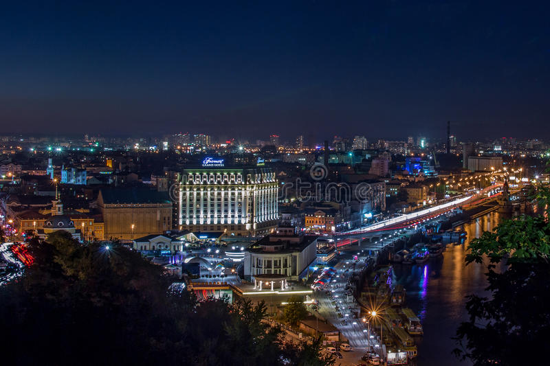 Kiev. Night. View of the Dnieper River and area Podol. royalty free stock image