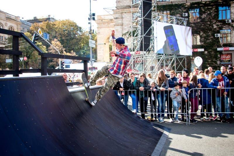 kiev Oktober 2018 Een Amerikaanse skateboarder tijdens demonstrati royalty-vrije stock afbeelding