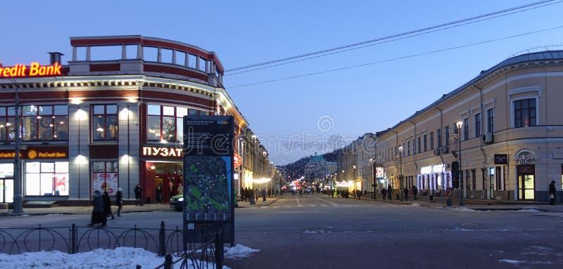 Kiev, Podol district in the evening stock photo