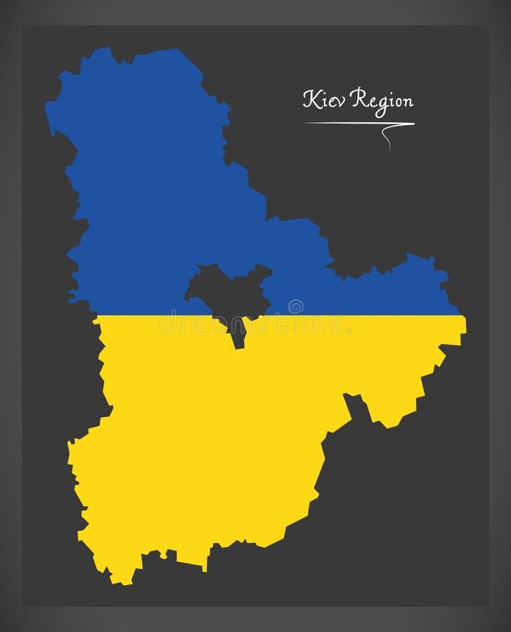 Kiev Region map of Ukraine with Ukrainian national flag illustration. Kiev Region map of Ukraine with Ukrainian national flag vector illustration