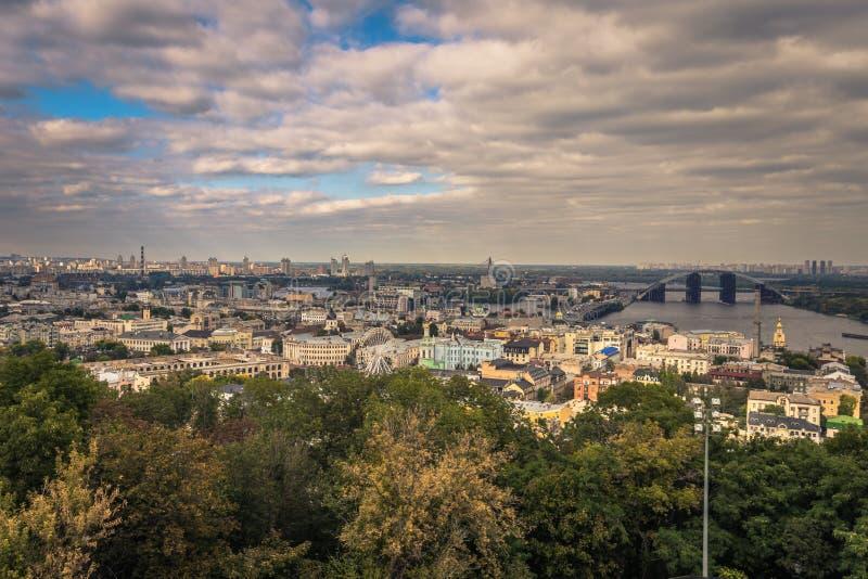 Kiev - September 28, 2018: Panorama of Kiev seen from Saint Andrew`s Orthodox church in Kiev, Ukraine stock photography