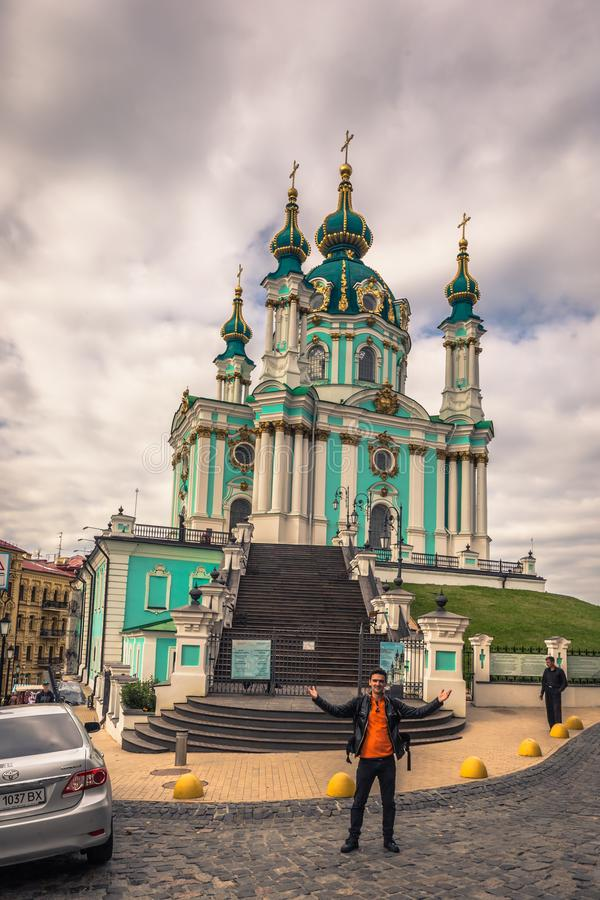 Kiev - September 28, 2018: Saint Andrew`s orthodox church in Kiev, Ukraine stock photos