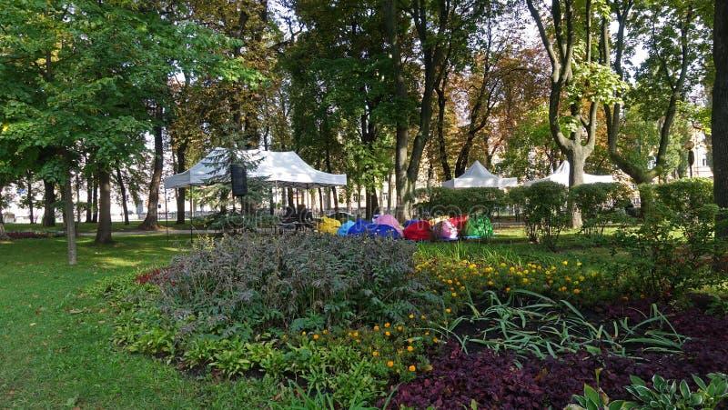 In Kiev Shevchenko park on a sunny autumn day. In Kiev Shevchenko park on a fine sunny autumn day/ Flower beds design stock image