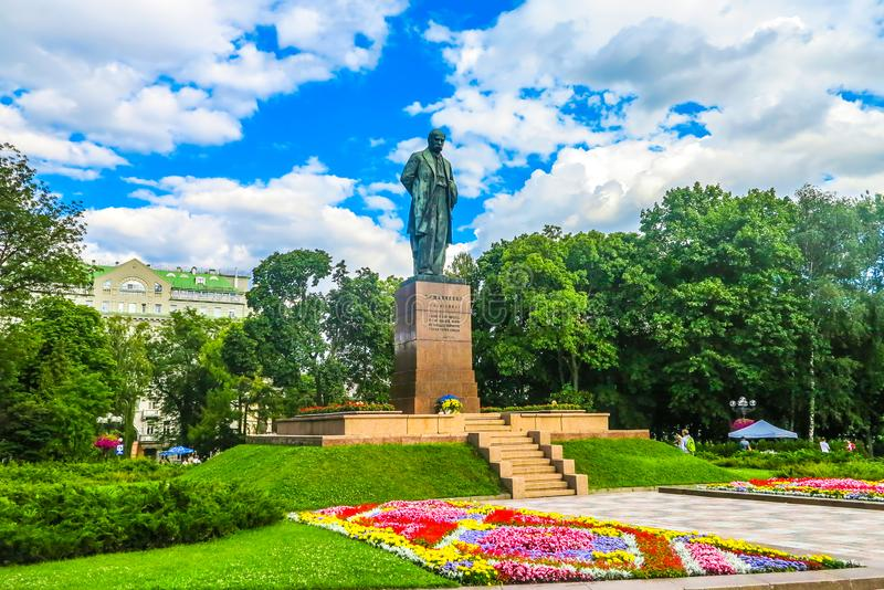 Kiev Taras Shevchenko 02. Kiev Taras Shevchenko Monument Statue at Park Side Frontal View royalty free stock photo