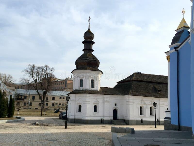 kiev Ucrânia - em março de 2017: Igreja do refeitório no Mikhailovsky fotografia de stock