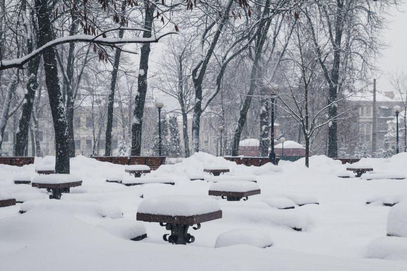 Kiev, Ucrânia, o 3 de março de 2018 A cidade foi coberta com a neve imagem de stock royalty free