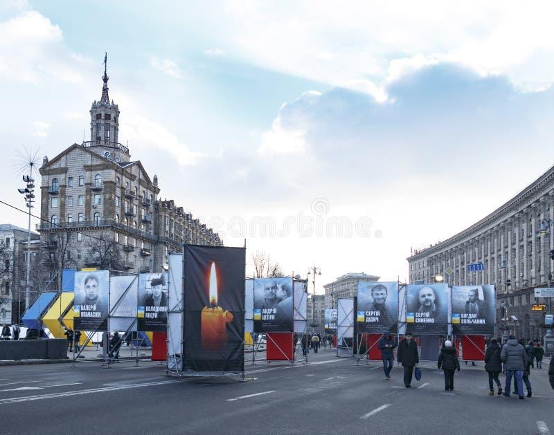 Kiev, Ucrânia, quadrado da independência, o 17 de fevereiro de 2018 foto de stock