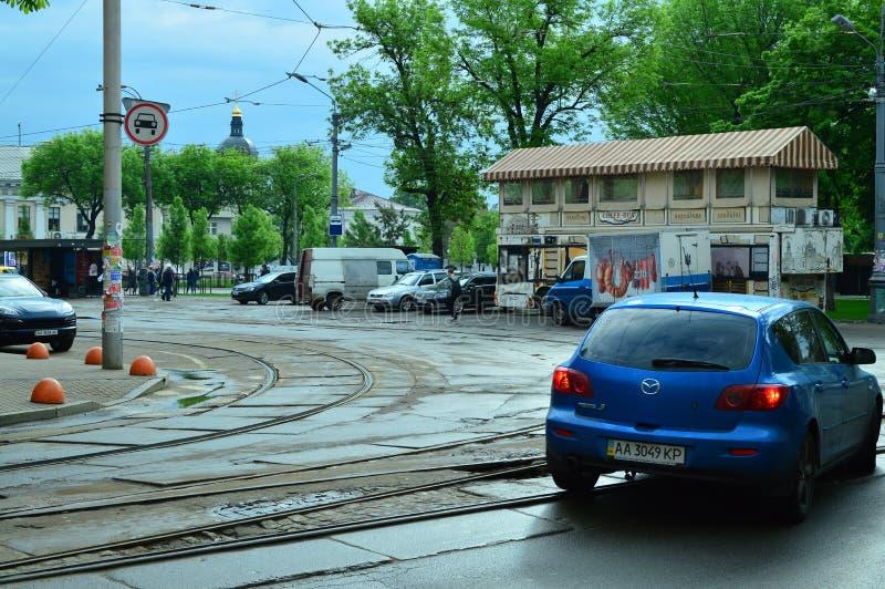 Kiev, Ucrânia Ucrânia 7 05 2019; Transporte em Kiev e em vida urbana fotografia de stock