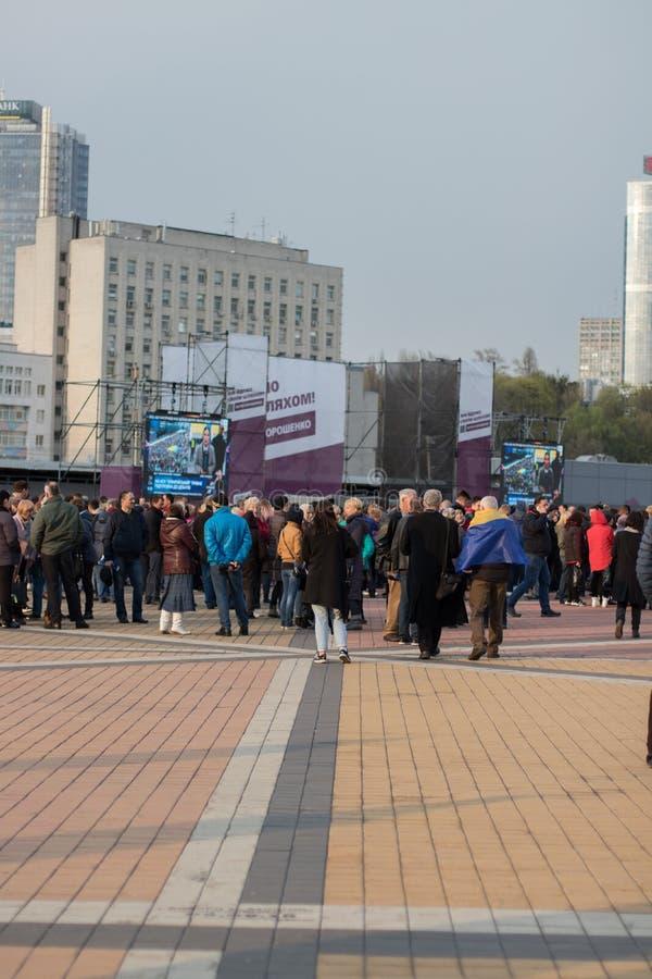 Kiev, Ucraina 19 aprile 2019 Dibattito presidenziale 2019 di uA Stadio di Kiev Olympiyskiy immagine stock