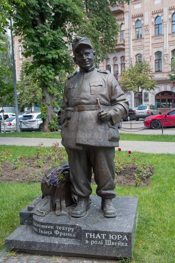 Kiev, Ucraina - 21 giugno 2017: Monumento a direttore di fase ed all'attore ucraini Gnat Yura fotografie stock libere da diritti