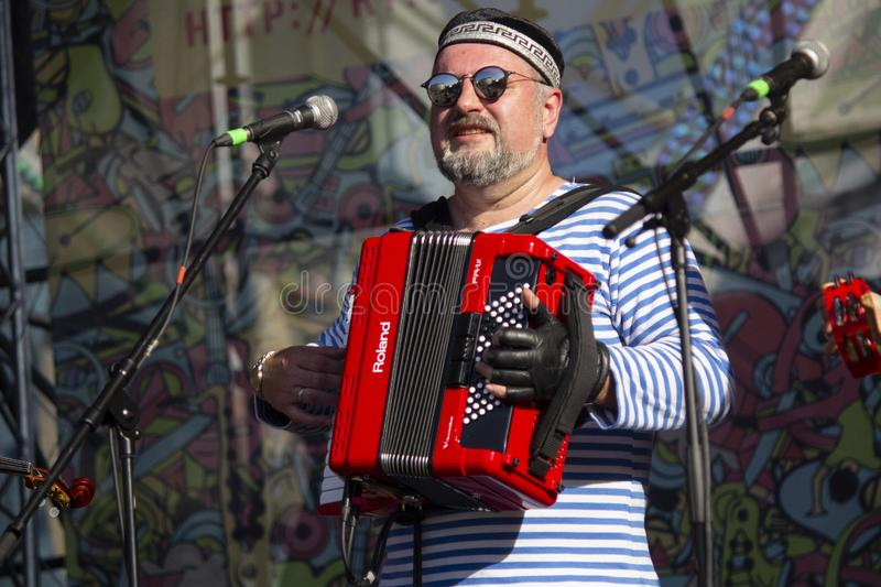 Kiev, Ucraina - 19 maggio 2019: Esecutori sulla fase del festival di musica di Kleizmer fotografia stock
