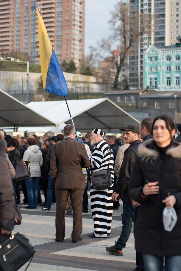 Kiev, Ucrania 19 de abril de 2019 Discusi?n presidencial 2019 del UA Estadio de Kiev Olympiyskiy fotos de archivo libres de regalías