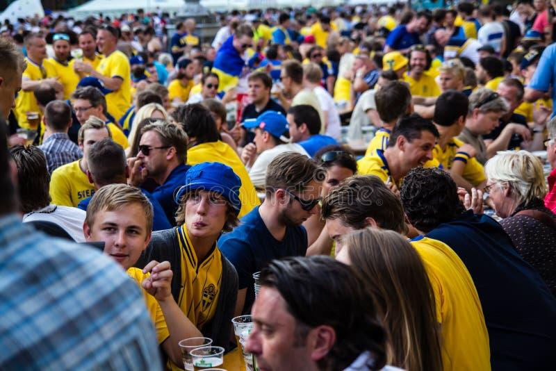 KIEV, UCRANIA - 10 DE JUNIO: Suecia que anima y las fans ucranianas tienen fotografía de archivo libre de regalías