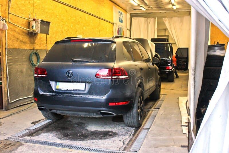 Kiev, Ucrania 10 de junio de 2017 Volkswagen Touareg fotos de archivo
