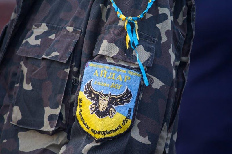 Kiev, Ucrania - 14 de octubre de 2018 batallón de Chevron de la defensa territorial de Aydar fotos de archivo
