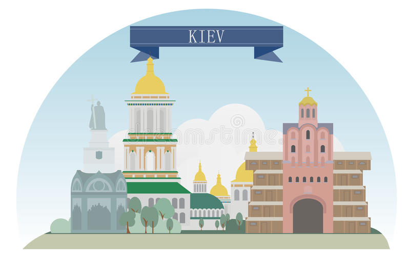 Kiev Ukraina vektor illustrationer