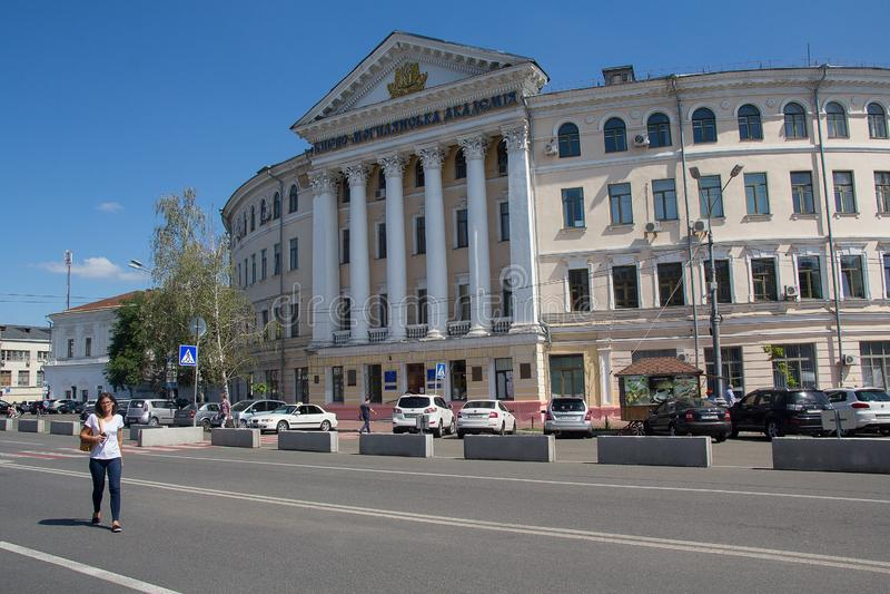 Kiev Ukraina - Augusti 09, 2017 Nationellt universitet av den Kyiv-Mohyla akademin royaltyfri bild