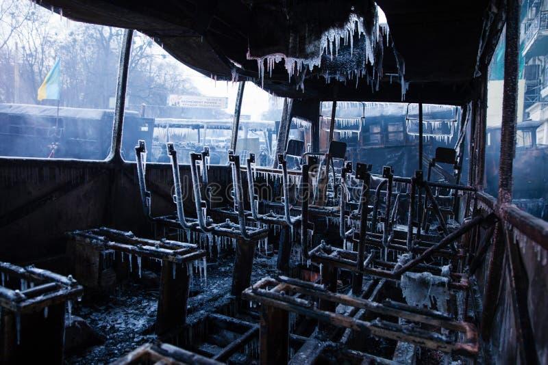 KIEV UKRAINA - Januari 20, 2014: Morgonen efter det våldsamt royaltyfria foton