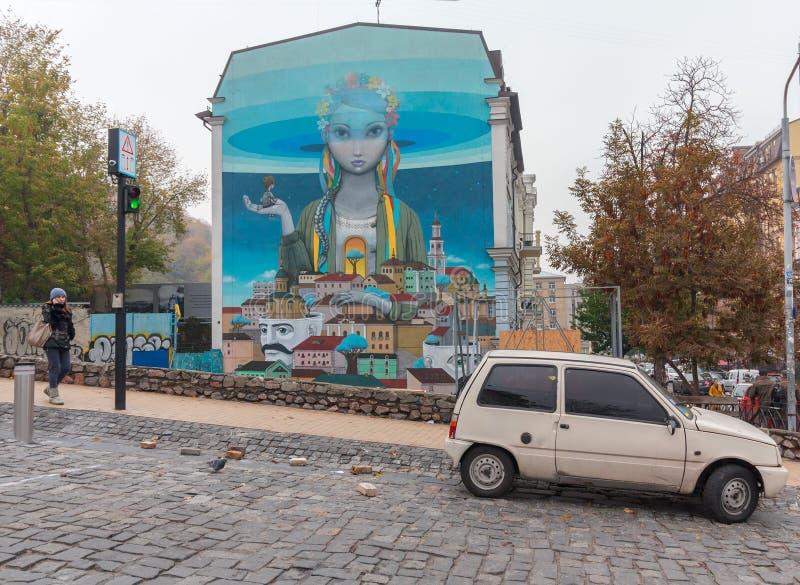 Kiev Ukraina - Oktober 22, 2015: Grafittimålning på den Andriyivskyy nedstigningen arkivbild
