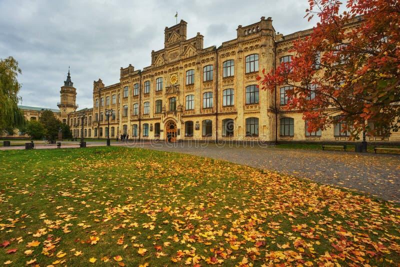 Kiev Ukraina - 14 Oktober, 2017: Huvudbyggnad av det nationella tekniska universitetet av Ukraina arkivbilder