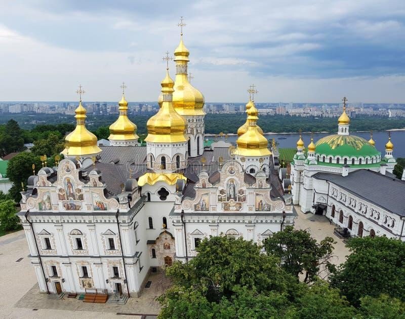 Kiev Ukraina Pechersk Lavra klosterpanoramautsikt UNESCOarv arkivfoto