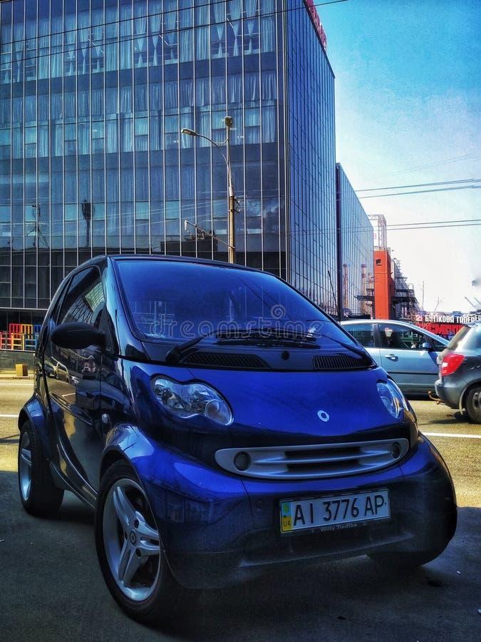 KIEV UKRAINA - SEPTEMBER 15, 2018: Smart för mini- bil för två stad royaltyfri foto