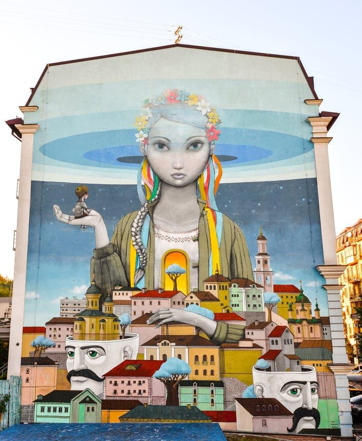Kiev Ukraina - September 1, 2016: StrGraffiti skapade inom ramen av projektkonsten förenade oss royaltyfri foto