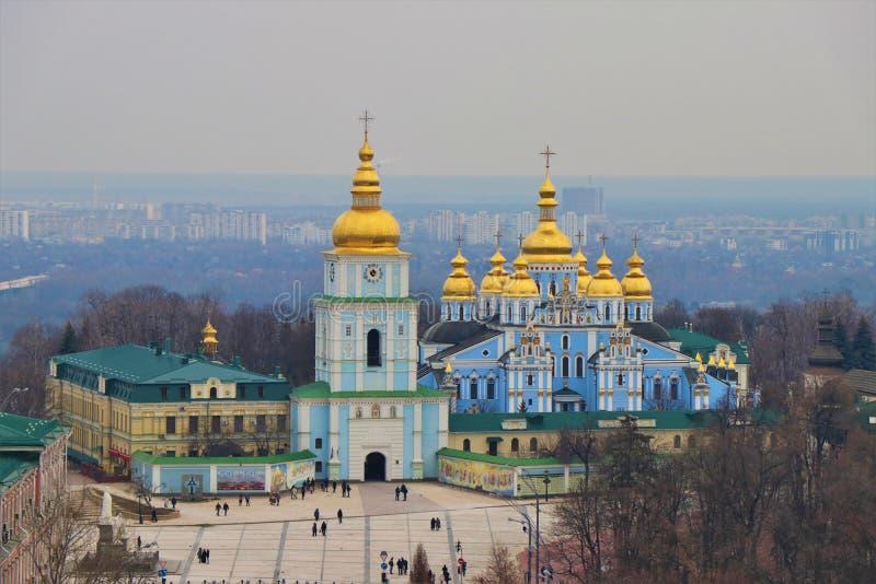 Kiev Ukraina Sikt av kloster av St Michael arkivfoton