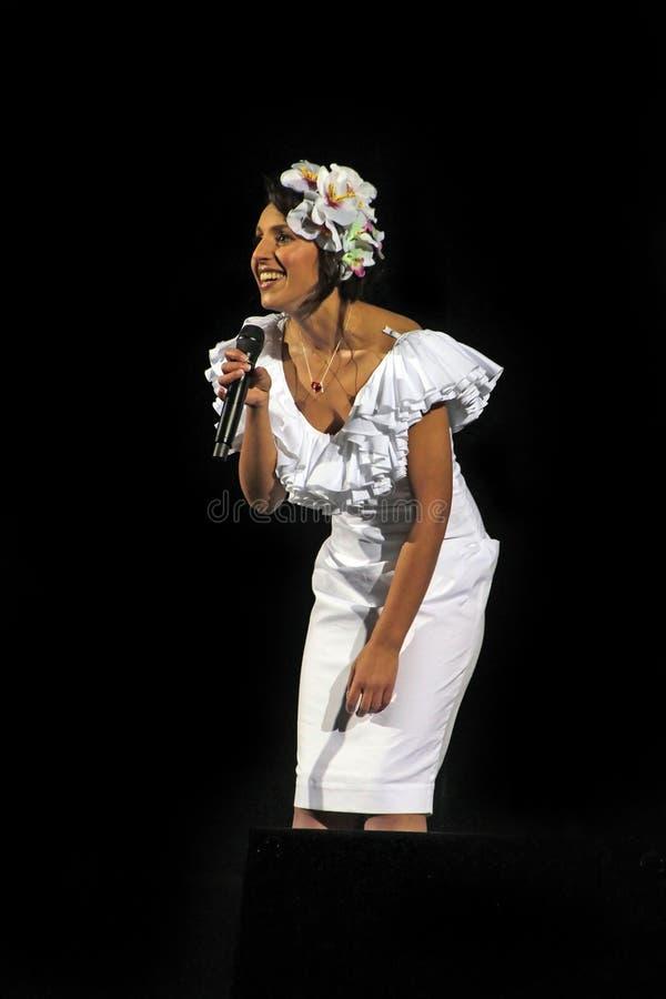 Kiev Ukraina, 12 04 2011 ukrainska berömda sångare Jamala fotografering för bildbyråer