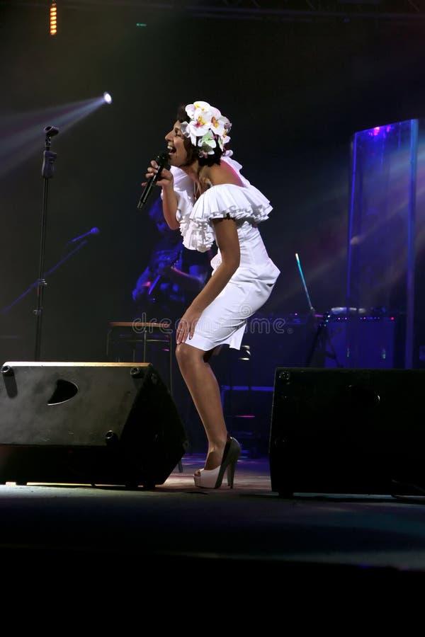 Kiev Ukraina, 12 04 2011 ukrainska berömda sångare Jamala royaltyfri foto