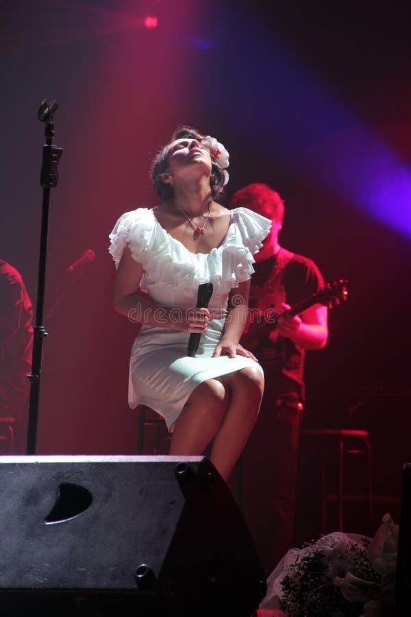 Kiev Ukraina, 12 04 2011 ukrainska berömda sångare Jamala arkivfoton