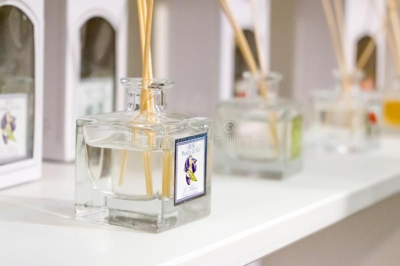KIEV, UKRAINE – 19 September, 2018: Home fragrance products, p. Erfume for home. Aromatic sticks for home with floral odor in the perfume bottle on the stock photo