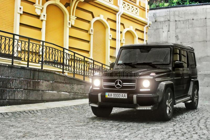 Kiev - Ukraine; April 21, 2015. Editorial photo. Mercedes-Benz G63 AMG in the old town royalty free stock image