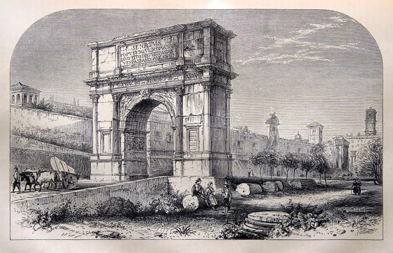 The Arch of Titus in Rome. Kiev, Ukraine - April 22, 2018: ILLUSTRATIVE EDITORIAL The antique engraving shows the Arch of Titus in Rome. Circa 1864