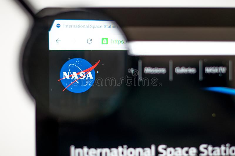 Kiev, Ukraine - april 6, 2019: Nasa homepage through a magnifying glass. NASA is the agency of the US government responsible for royalty free illustration