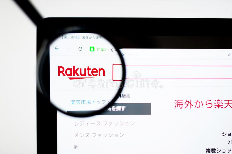 Kiev, Ukraine - april 6, 2019: Rakuten website homepage. It is a Japanese electronic commerce and Internet company based in Tokyo stock illustration