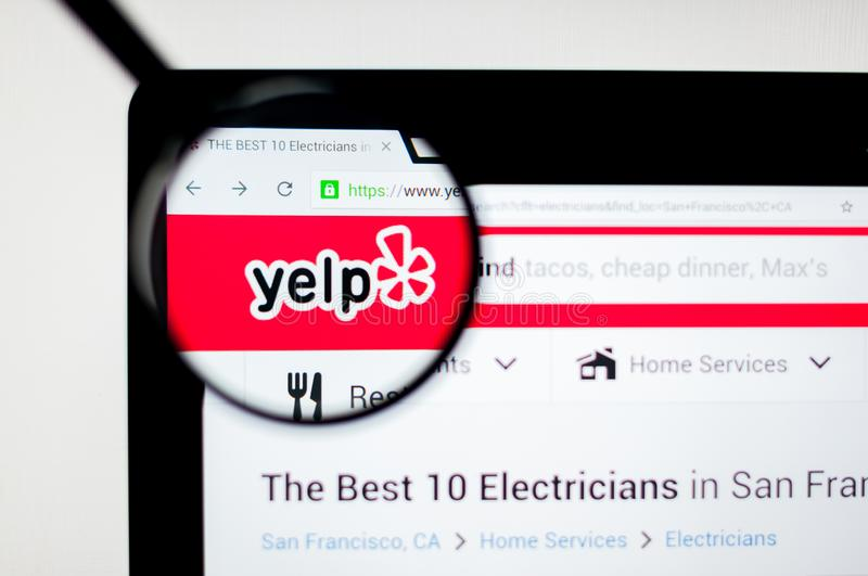 Kiev, Ukraine - april 6, 2019: Yelp website homepage. It is an American multinational corporation. It develops, hosts and markets stock illustration