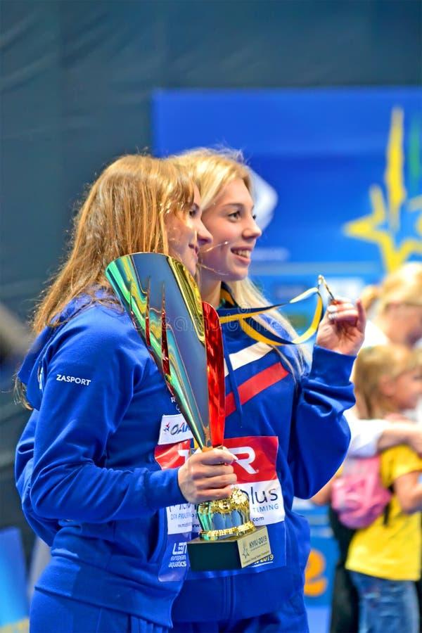European Diving Championships 2019 winner celebrations in Kiev, Ukraine. royalty free stock photography