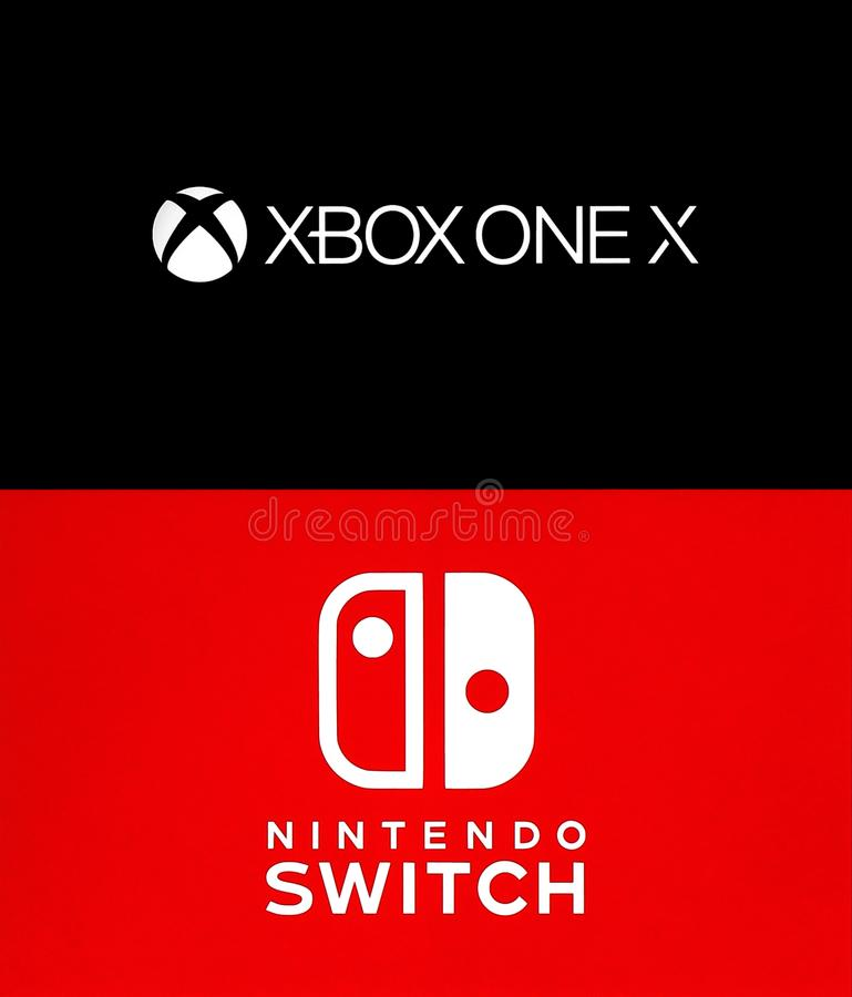 Collection of popular game consoles logos. Kiev, Ukraine - August 21, 2017: Collection of popular game consoles logos: XBox One X and Nintendo Switch, printed on stock illustration