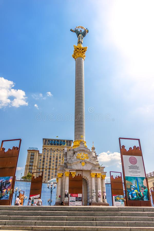 Kiev, Ukraine - August 15, 2018: Euromaidan 2014 memories and the Independence Monument in Independence Square royalty free stock image