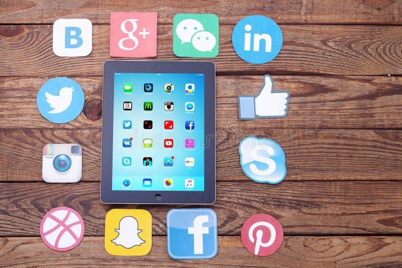 KIEV, UKRAINE - AUGUST 22, 2015: Famous social media icons such as: Facebook, Twitter, Blogger, Linkedin, Google Plus, Instagram royalty free stock photos