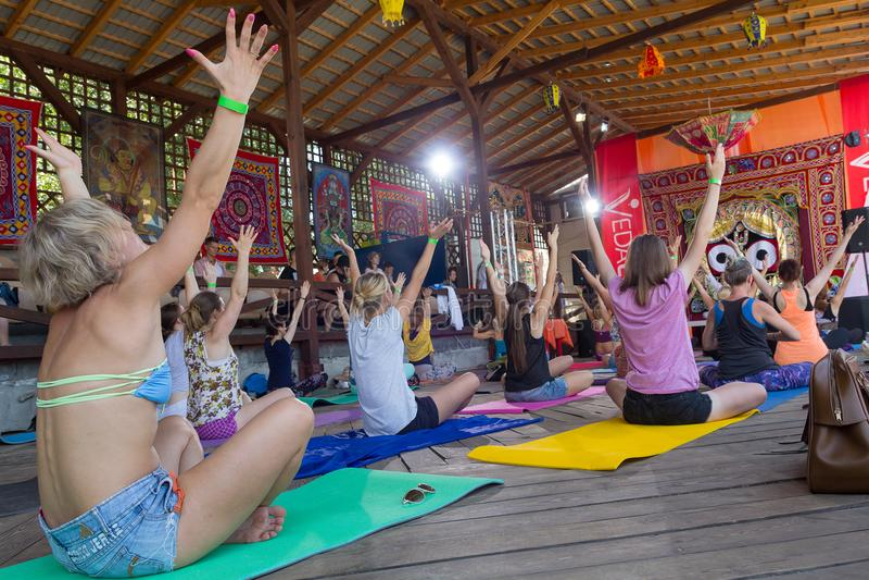 Kiev, Ukraine - August 03, 2017: Group yoga at the festival royalty free stock photo