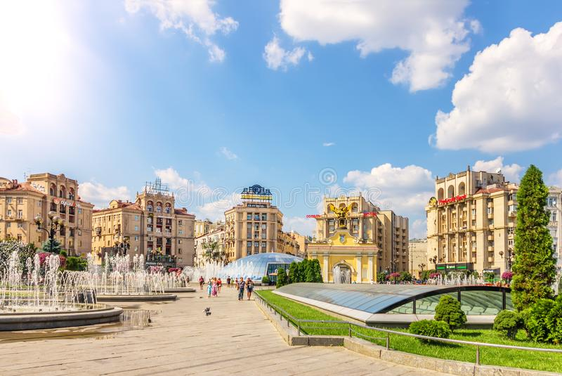 Kiev, Ukraine - August 15, 2018: Independence Square fountains, and buildings and Lach Gates in summer stock image