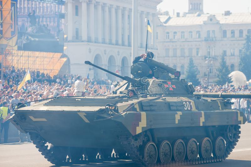 Tanks on military parade in Kiev, Ukraine. KIEV, UKRAINE - AUGUST 24, 2018: Military parade in Kiev, dedicated to the Independence Day of Ukraine, 27th royalty free stock photos