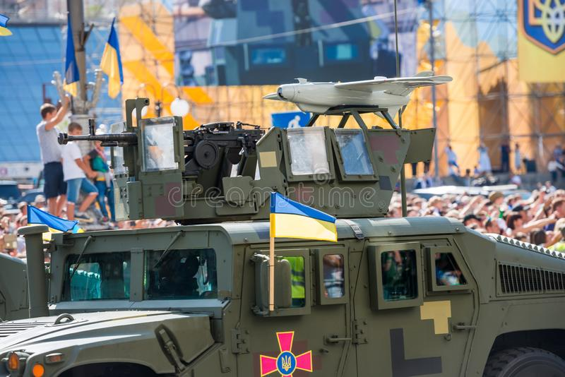 Military parade in Kiev, Ukraine. KIEV, UKRAINE - AUGUST 24, 2018: Military parade in Kiev, dedicated to the Independence Day of Ukraine, 27th anniversary royalty free stock photography