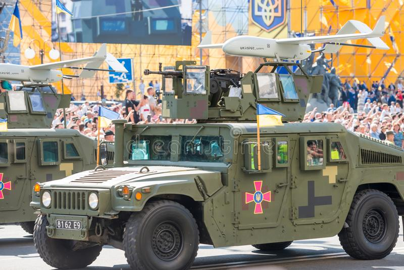 Military parade in Kiev, Ukraine. KIEV, UKRAINE - AUGUST 24, 2018: Military parade in Kiev, dedicated to the Independence Day of Ukraine, 27th anniversary royalty free stock photo
