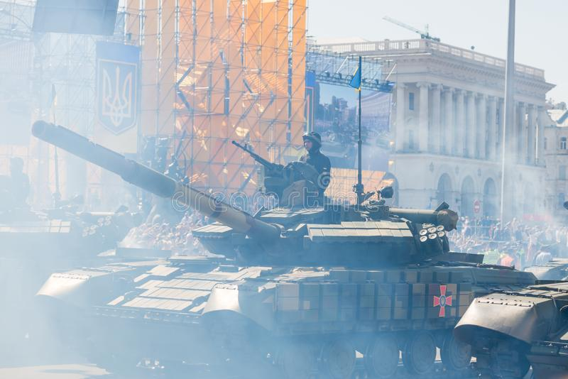 Tanks on military parade in Kiev, Ukraine. KIEV, UKRAINE - AUGUST 24, 2018: Military parade in Kiev, dedicated to the Independence Day of Ukraine, 27th royalty free stock images
