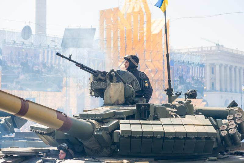 Tanks on military parade in Kiev, Ukraine. KIEV, UKRAINE - AUGUST 24, 2018: Military parade in Kiev, dedicated to the Independence Day of Ukraine, 27th stock photography